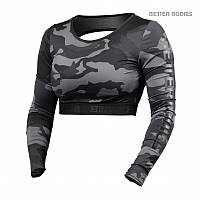 Топ с длинными рукавами Better Bodies Chelsea Cropped L/S, Dark camo