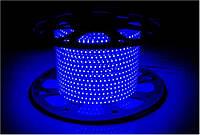 Светодиодная лента 220В SMD 3528 120 диодов на метр IP65 12Вт Синий Премиум