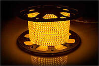 Светодиодная лента 220В SMD 3528 120 диодов на метр IP65 12Вт Желтый Премиум