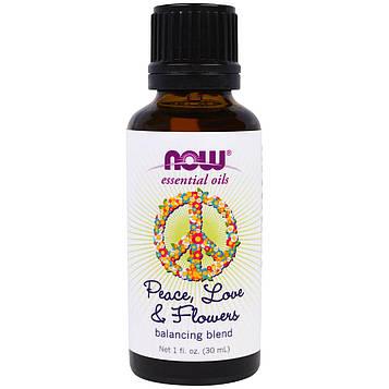 Now Foods, Мир, любовь и цветы, Эфирные масла, смесь для поддержания баланса, 1 жид. унция (30 мл)