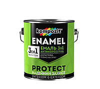 Эмаль акриловая антикоррозионная 3 в 1 Kompozit protect (коричневая) 10 кг, фото 1
