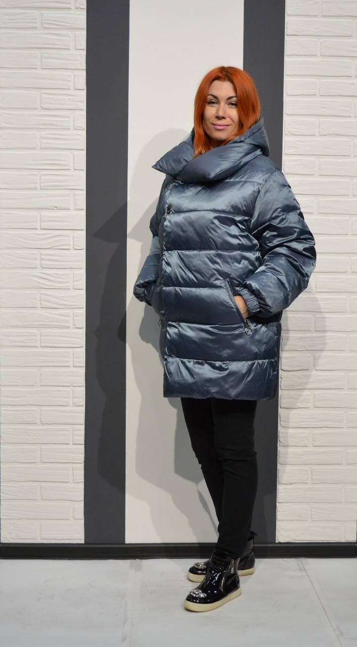 Серо-голубая женская куртка Snow Beuty 1803
