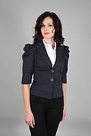 Пиджак женский короткий с рукавом-фонариком темно-синий (Жакет жіночий темно-синій)