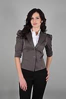 Пиджак женский короткий с рукавом-фонариком серый(Жакет жіночий сірий)