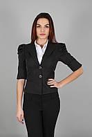 Пиджак женский короткий с рукавом-фонариком черный(Жакет жіночий чорний)