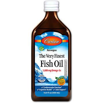 Carlson Labs, Норвежский, самый лучший рыбий жир, естественный вкус апельсина, 16,9 жидк. унц. (500 мл)