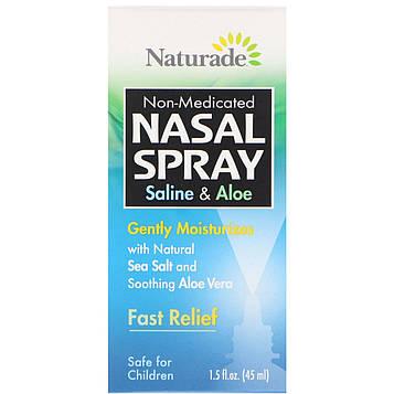 Naturade, Спрей для носа, соляной раствор и алоэ, 1,5 жидкой унции (45 мл)