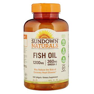 Sundown Naturals, Рыбий жир, 1200 мг, 100 мягких таблеток