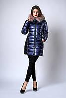 Зимняя женская молодежная куртка. Код К-141-63-19. Цвет синий металик с пудровым мехом.