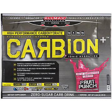 ALLMAX Nutrition, CARBion+, электролит для максимальной силы + энергетический напиток для гидратации, фруктовый заряд, пробная упаковка, 0,99 унции
