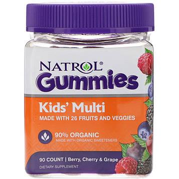 Natrol, Жевательные таблетки, Мультивитамины для детей, Ягоды, Вишня и виноград, 90 штук