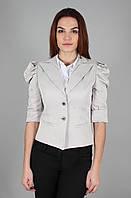 Пиджак женский короткий с рукавом-фонариком светло-серый (Жакет жіночий світло-сірий)