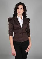 Пиджак женский короткий с рукавом-фонариком коричневый (Жакет жіночий коричневий)