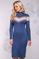 Женское платье, размер от 42 до 48, синее, ангоровое, молодёжное, спортивное, повседневное, облегающее, тёплое