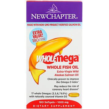 New Chapter, Wholemega, Рыбий жир первого отжима из аляскинского лосося, 1000 г, 180 желатиновых капсул