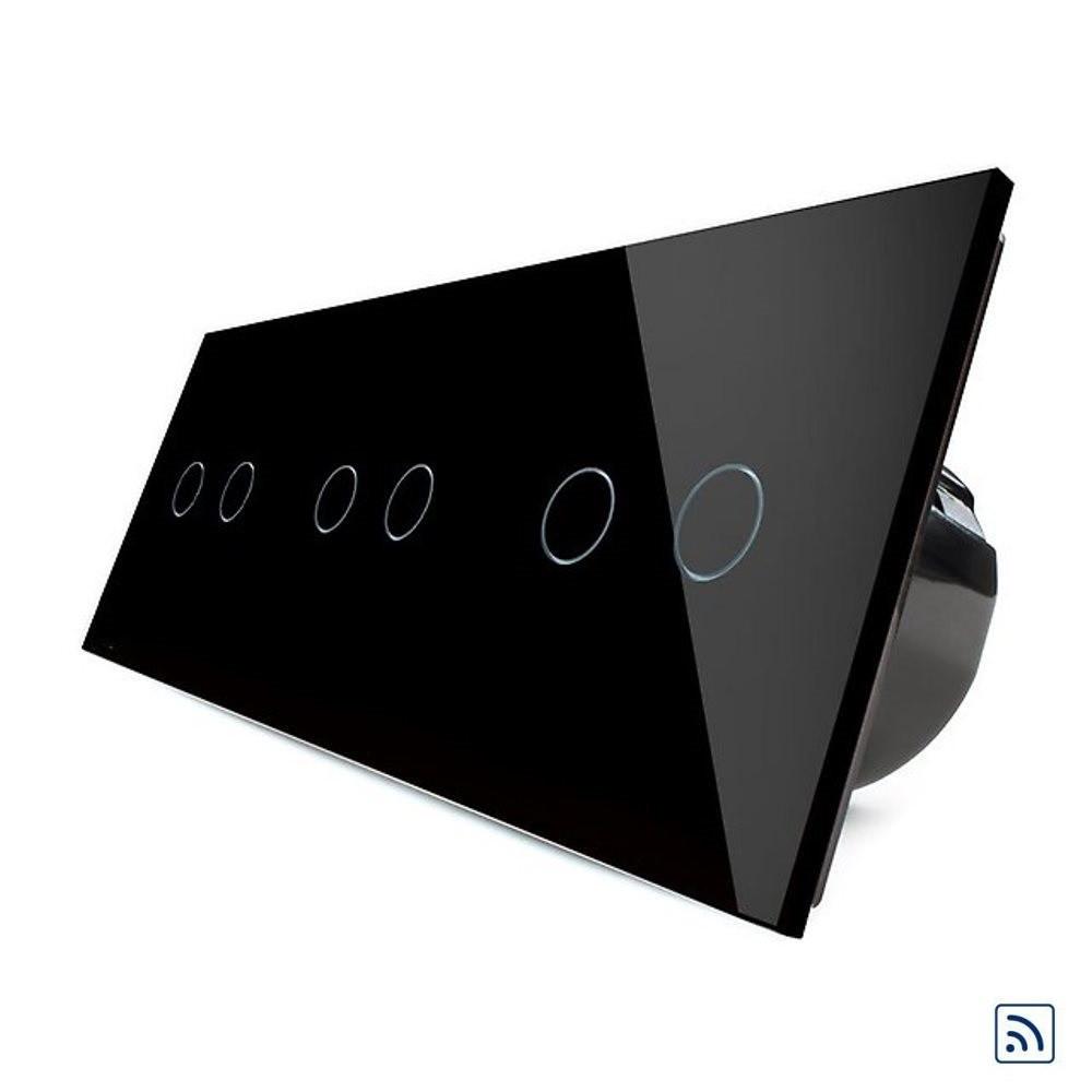 Шестисенсорный выключатель Livolo 2+2+2 с функцией ДУ, черный, стекло (VL-C706R-12)