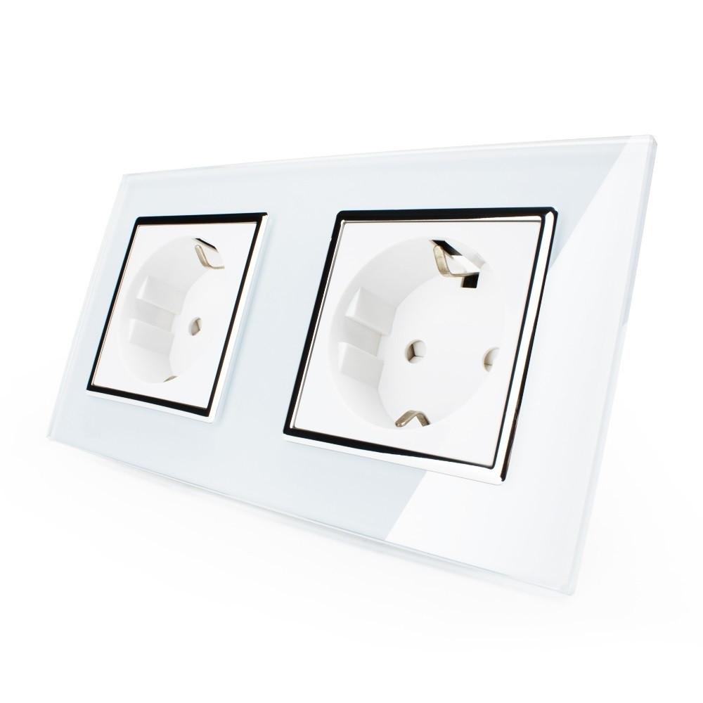 Розетка двойная с заземлением Livolo, цвет белый хром, материал стекло (VL-C7C2EU-11C)