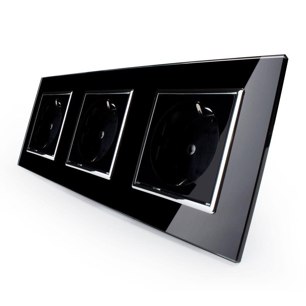Розетка тройная с заземлением Livolo, цвет черный хром, материал стекло (VL-C7C3EU-12C)