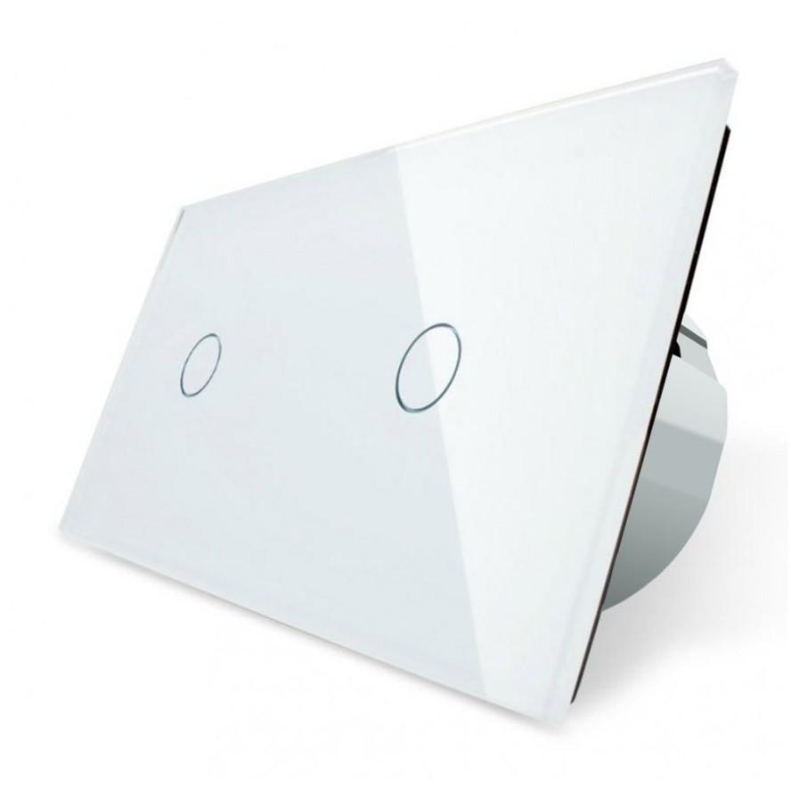 Сенсорный выключатель Livolo 1+1, цвет белый, стекло (VL-C701/C701-11)