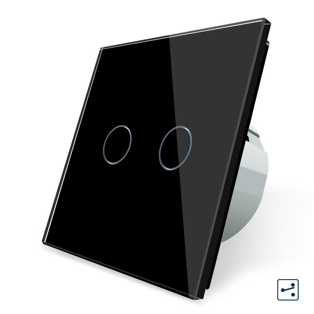 Сенсорный проходной выключатель Livolo на 2 канала, цвет черный, стекло (VL-C702S-12)