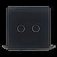 Сенсорный проходной маршевый перекрестный выключатель Livolo на 2 канала черный стекло (VL-C702S-12), фото 2