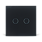 Сенсорный проходной выключатель Livolo на 2 канала, цвет черный, стекло (VL-C702S-12), фото 2