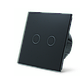 Сенсорный проходной выключатель Livolo на 2 канала, цвет черный, стекло (VL-C702S-12), фото 3