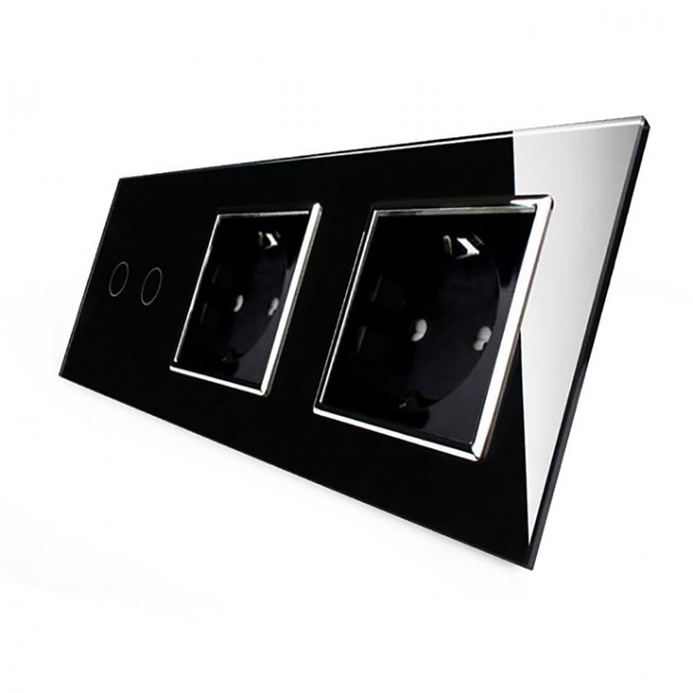Сенсорный выключатель на 2 линии с 2 розетками Livolo, цвет черны, хром, стекло (VL-C702/C7C2EU-12C)