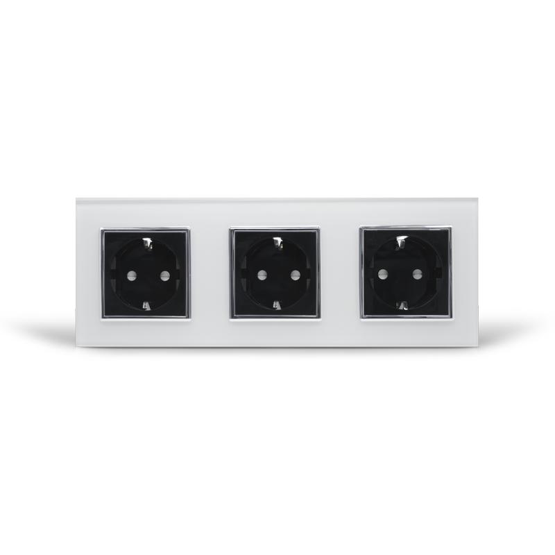 Розетка тройная с заземлением Livolo, белая/черная, хром, стекло (VL-C7C3EU-11/12C)