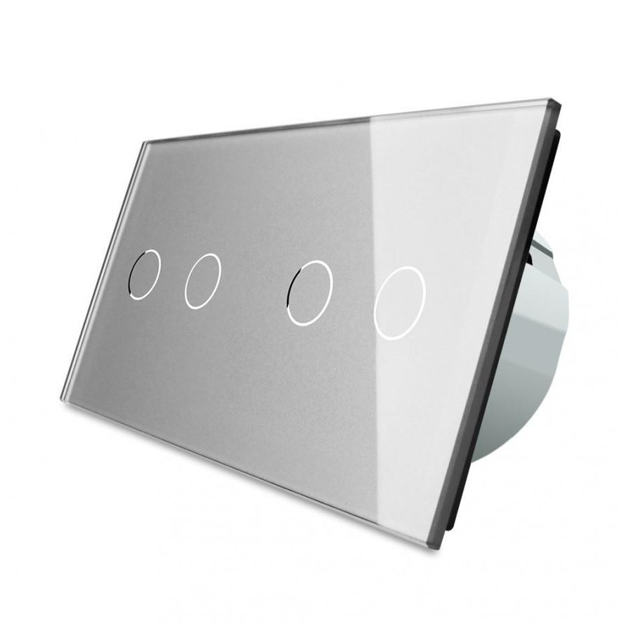 Сенсорный выключатель Livolo на 4 канала, цвет серый, стекло (VL-C702/C702-15)