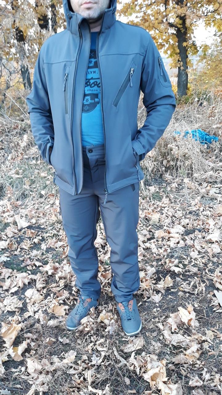 Костюм демисезонный  Softshell  серо-синий