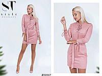 Платье замшевое с поясом, фото 1