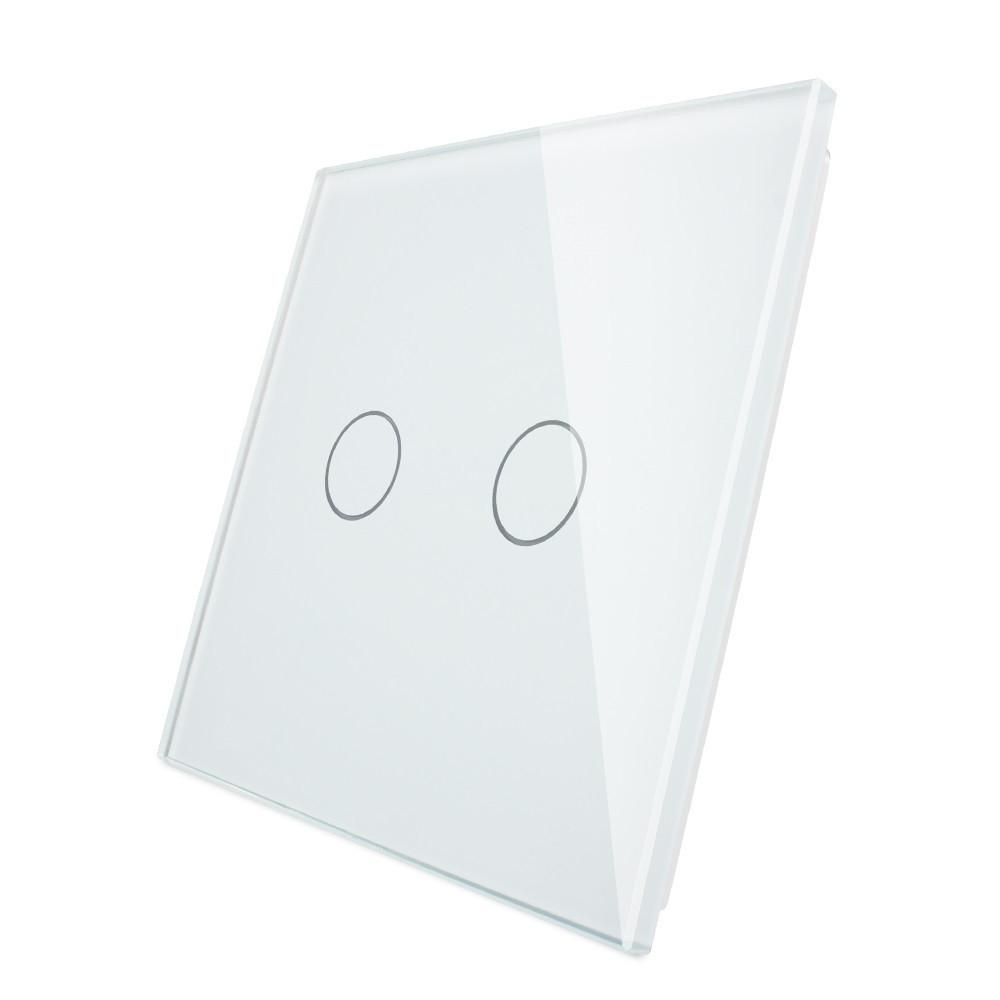 Лицевая панель для сенсорного выключателя Livolo 2 канала, цвет белый, материал стекло (VL-C7-C2-11)