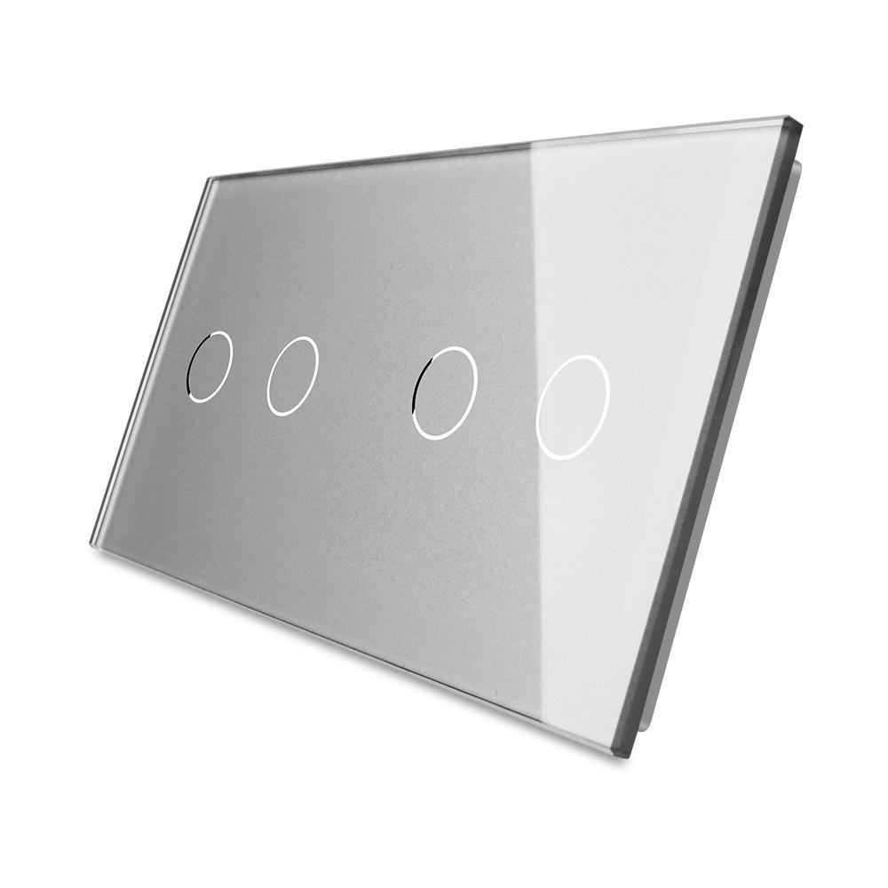 Лицевая панель для сенсорного выключателя Livolo 4 канала, цвет серый, стекло (VL-C7-C2/C2-15)