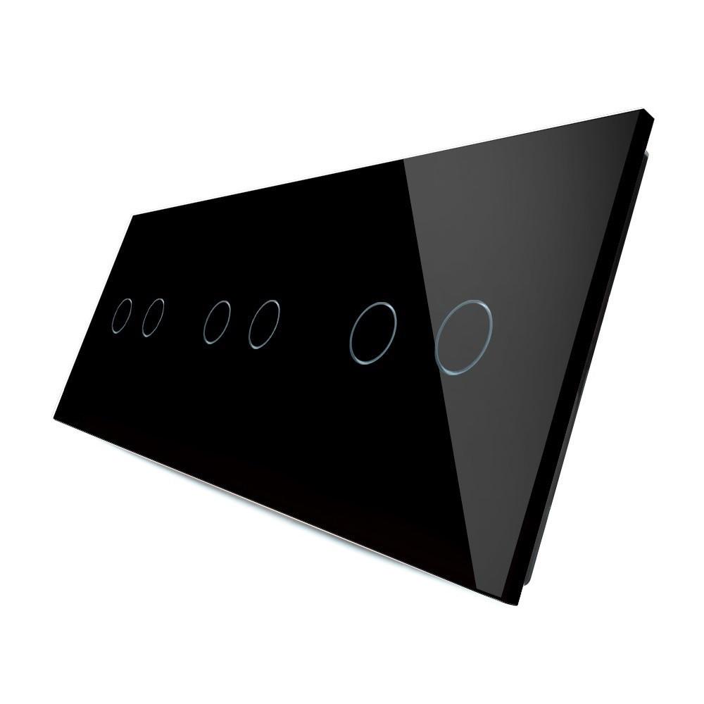Лицевая панель для сенсорного выключателя Livolo 6 каналов, цвет черный, стекло (VL-C7-C2/C2/C2-12)