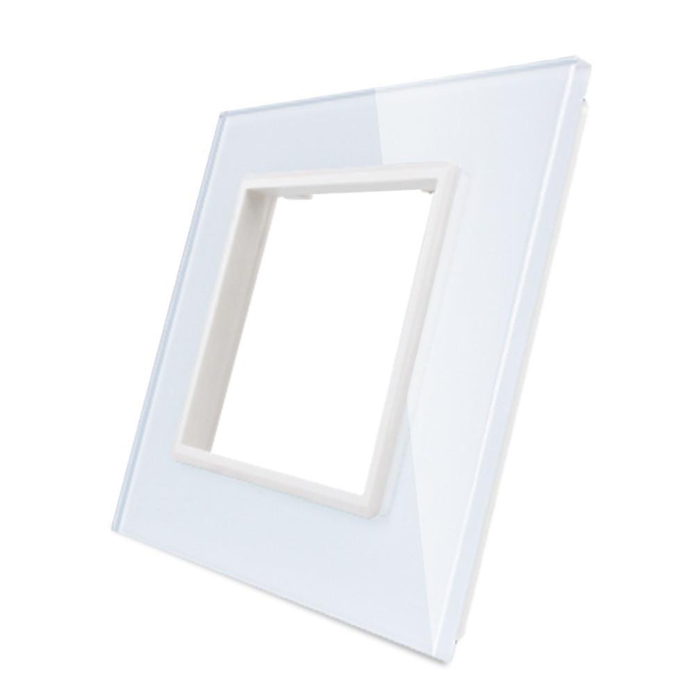 Рамка для розетки Livolo 1 пост, цвет белый, материал стекло (VL-C7-SR-11)