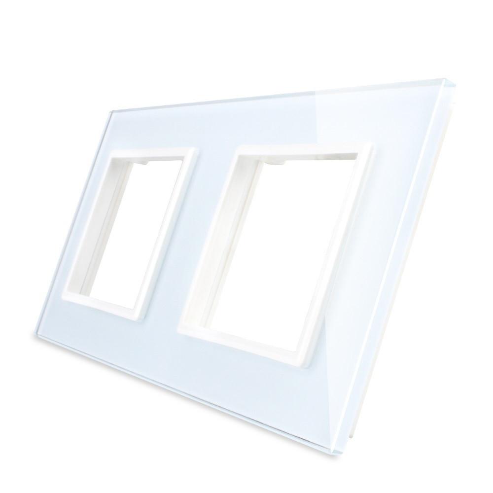 Рамка для розетки Livolo 2 поста, цвет белый, стекло (VL-C7-SR/SR-11)