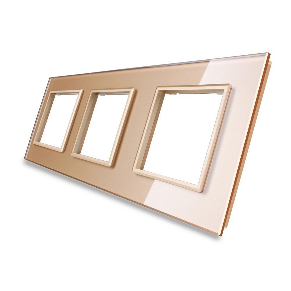 Рамка для розетки Livolo 3 поста, цвет золото, стекло (VL-C7-SR/SR/SR-13)