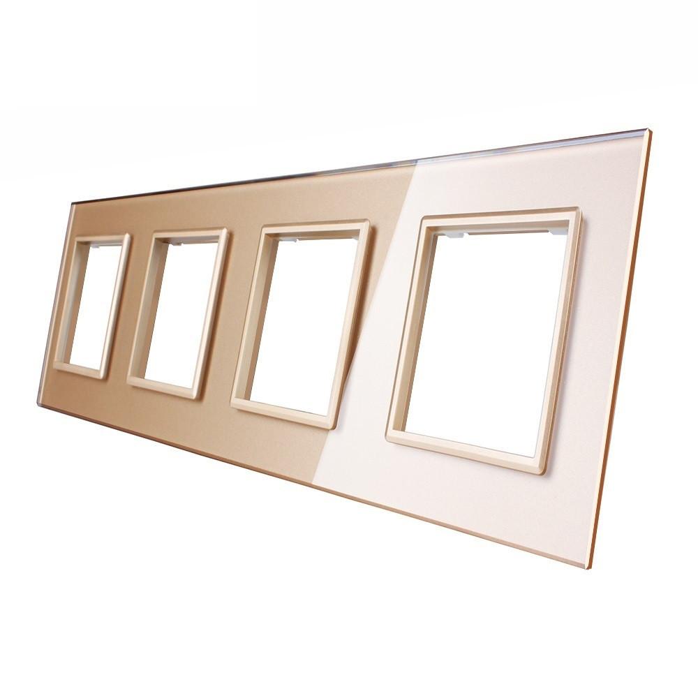 Рамка для розетки Livolo 4 поста, цвет золото, стекло (VL-C7-SR/SR/SR/SR-13)
