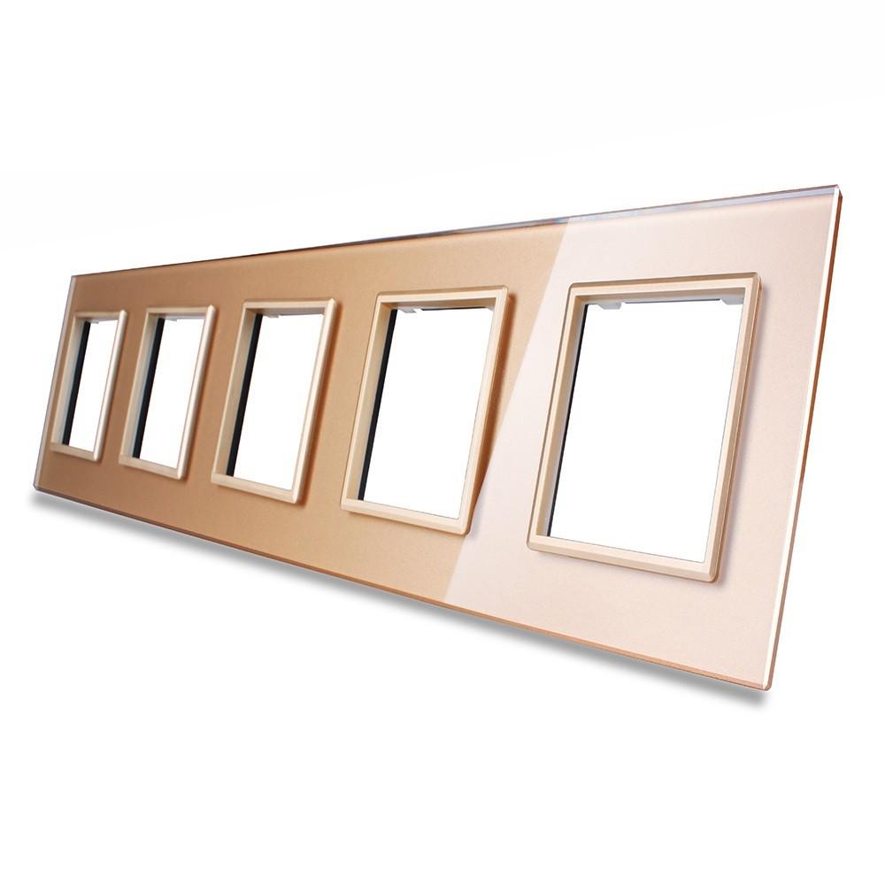 Рамка для розетки Livolo 5 постов, цвет золото, стекло (VL-C7-SR/SR/SR/SR/SR-13)