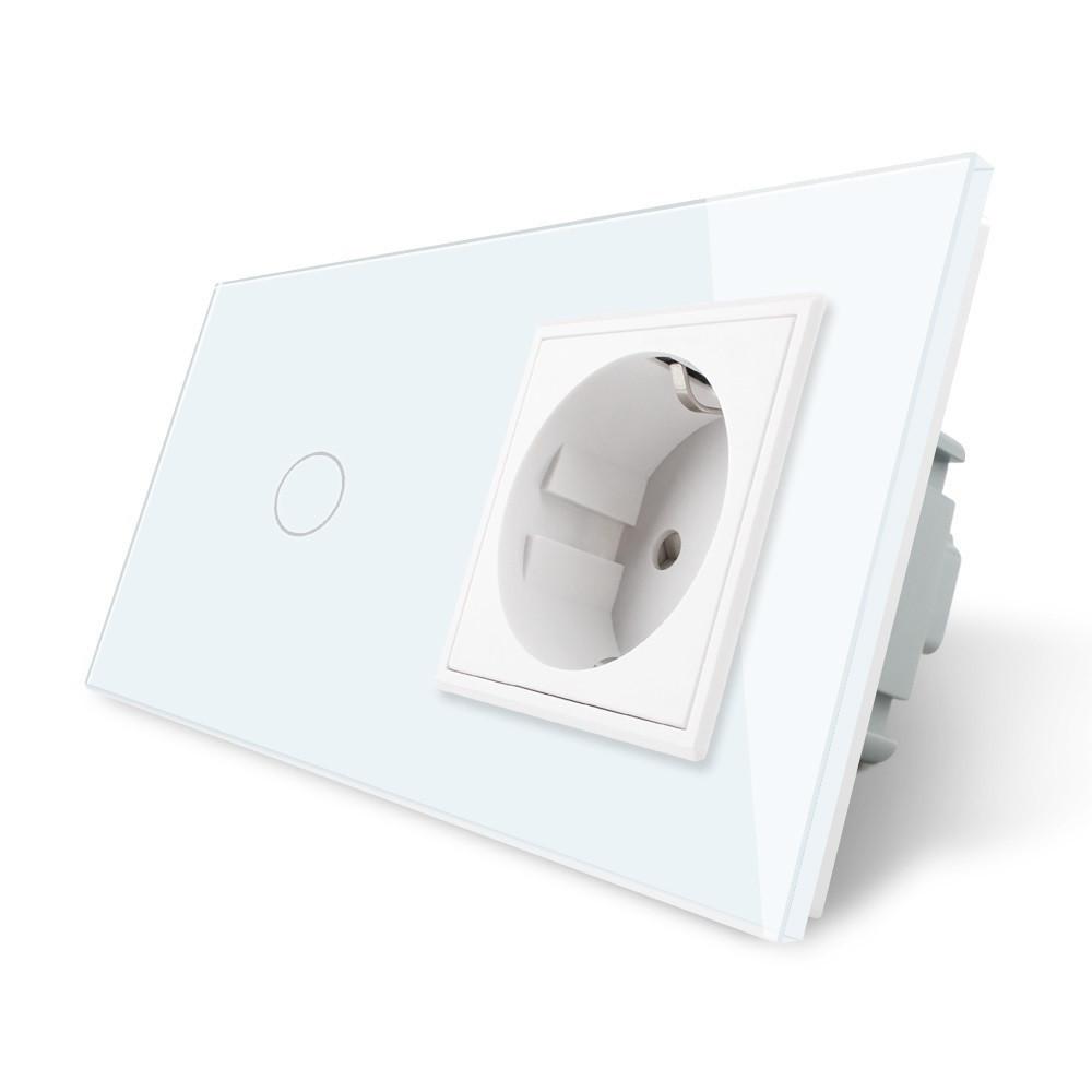 Сенсорный выключатель с розеткой Livolo, цвет белый, стекло (VL-C701/C7C1EU-11)
