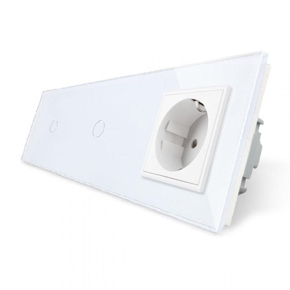 Сенсорный двойной выключатель с розеткой Livolo, цвет белый, стекло (VL-C701/C701/C7C1EU-11)