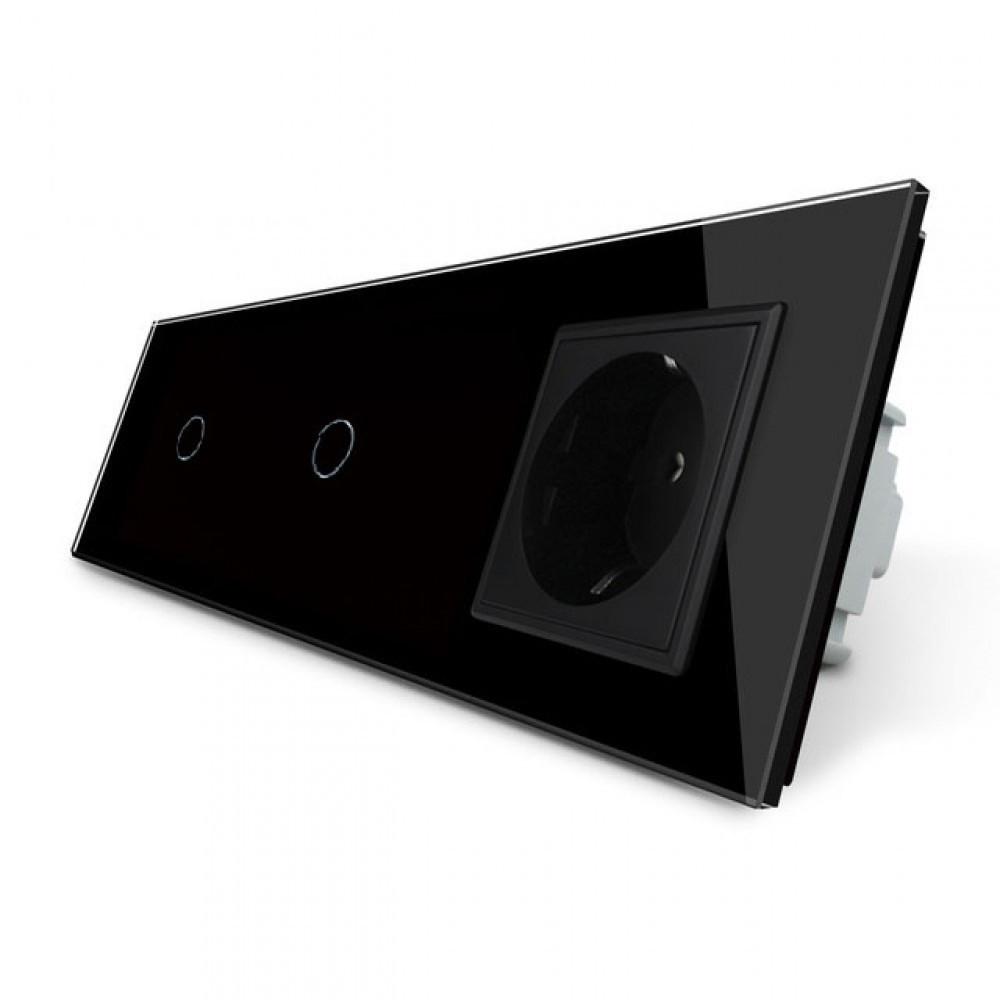 Сенсорный двойной выключатель с розеткой Livolo, цвет черный, стекло (VL-C701/C701/C7C1EU-12)