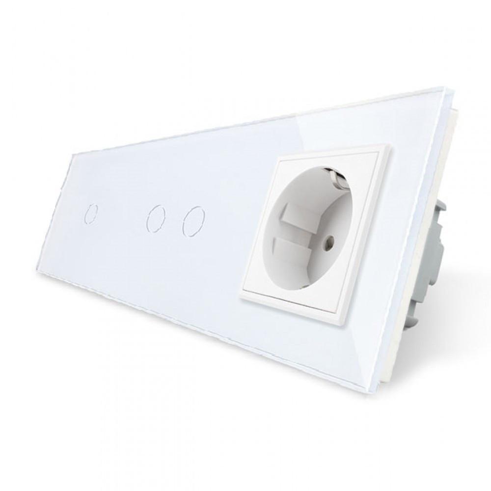 Сенсорный тройной выключатель с розеткой Livolo, цвет белый, стекло (VL-C701/C702/C7C1EU-11)
