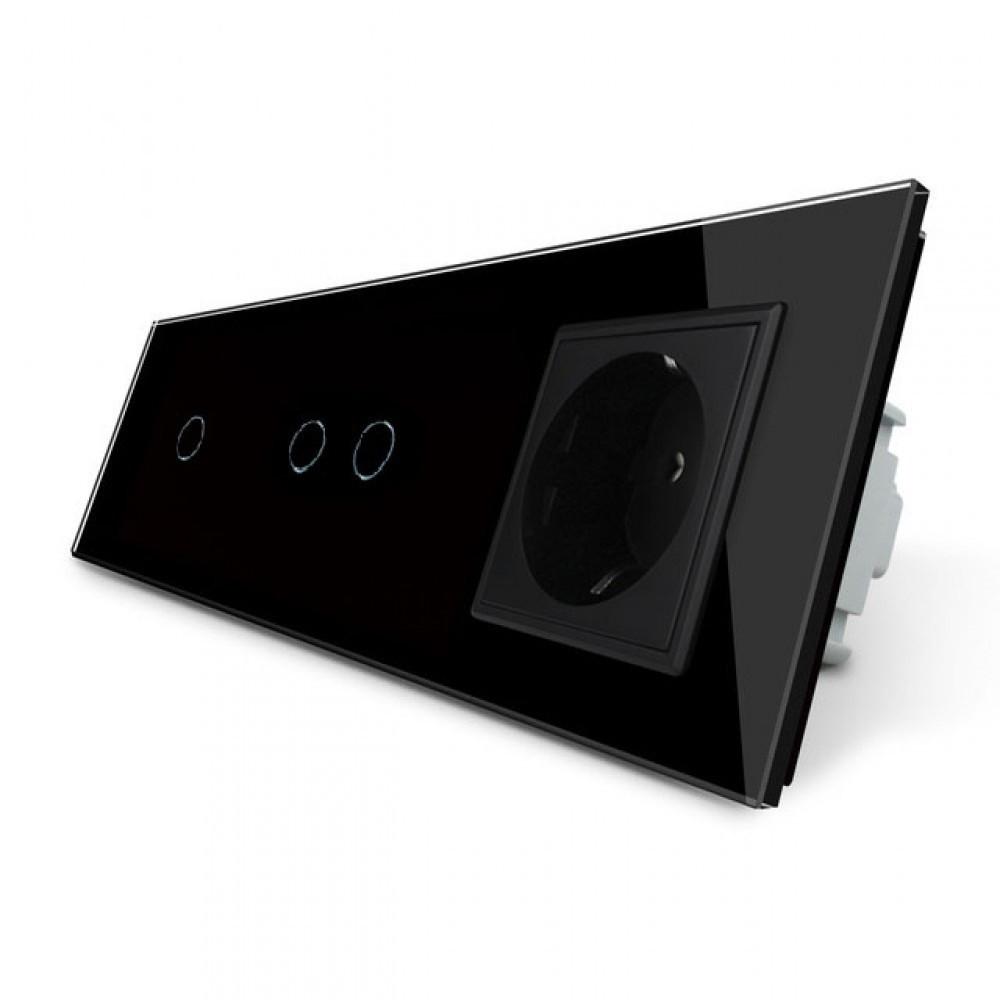 Сенсорный тройной выключатель с розеткой Livolo, цвет черный, стекло (VL-C701/C702/C7C1EU-12)