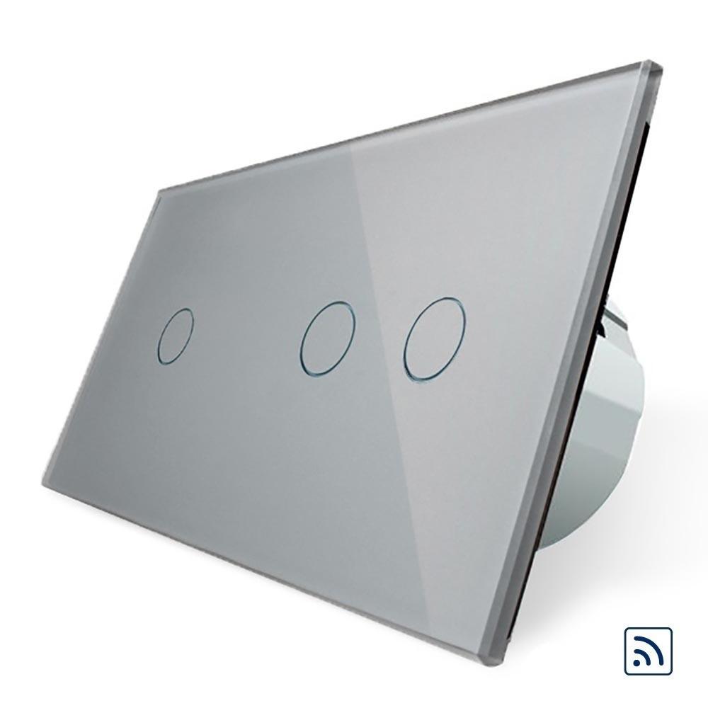 Сенсорный выключатель Livolo 1+2 с функцией ДУ, серый (VL-C701R/C702R-15)