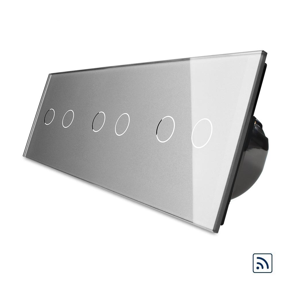 Шестисенсорный выключатель Livolo 2+2+2 с функцией ДУ, серый, стекло (VL-C706R-15)