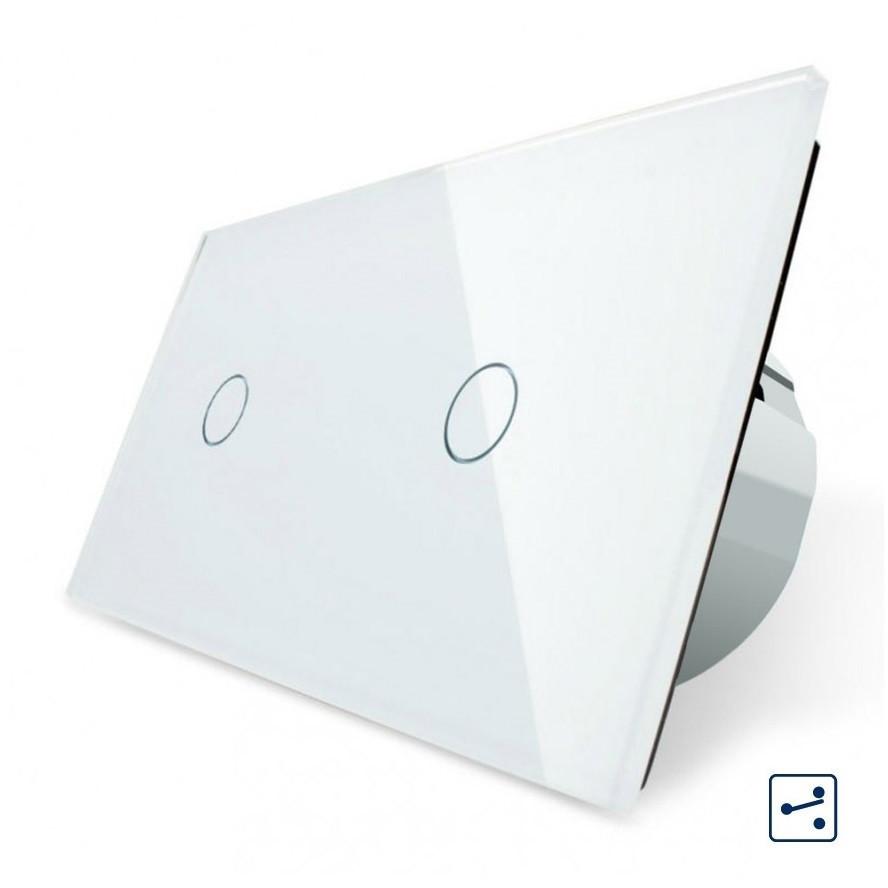 Сенсорный проходной выключатель Livolo на 2 канала 1+1, цвет белый, стекло (VL-C701S/C701S-11)