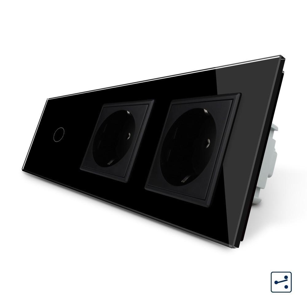 Сенсорный проходной выключатель с двумя розетками Livolo, цвет черный, стекло (VL-C701S/C7C2EU-12)