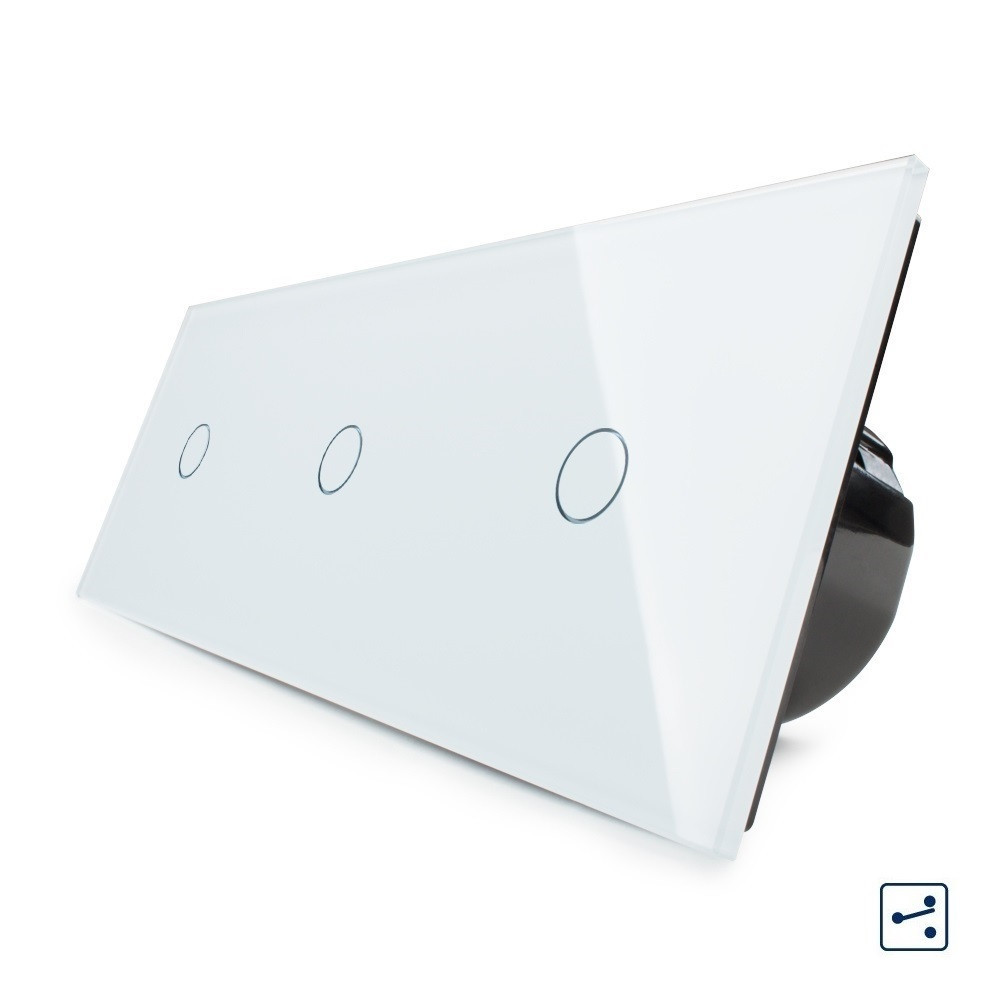Сенсорный проходной выключатель Livolo на 3 канала 1+1+1, цвет белый, стекло (VL-C703S-11)